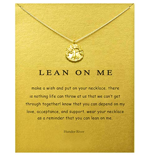 Baydurcan Friendship Tree of Life Necklace with Message Card Gift Card (gold tree of life)