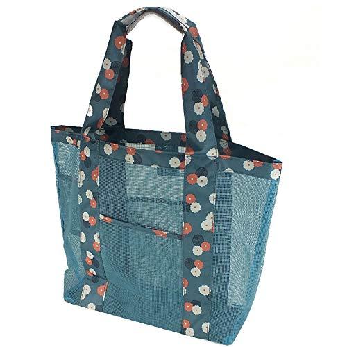 nuluxi Mesh Strandtasche Faltbare Einkaufstaschen Mesh Waschbeutel mit Großer Kapazität Strand Tasche Netztasche für Sandspielzeug Geeignet für Familie Urlaub Strand Reise Schwimmen (Blaue Blumen)