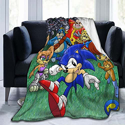 So-NIC The Hedg-Ehog All Characters Anime Soft Blanket Fuzzy Warm Throws for Winter Bedding, Couch and Plush House Warming Gift for Adults & Kids 50'X40'