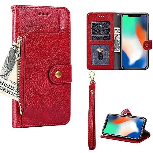Oujietong GKLLBB Flip Funda para Ulefone Metal Lite Funda Carcasa Case Cover [Rojo]