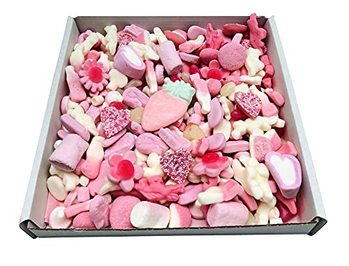 Pink Pick N Mix Sweets Gift Box Hamper Retro Sweet Present 1kg - Gift Wrapped - Personalised Gift Tag Message (Just The Sweets)