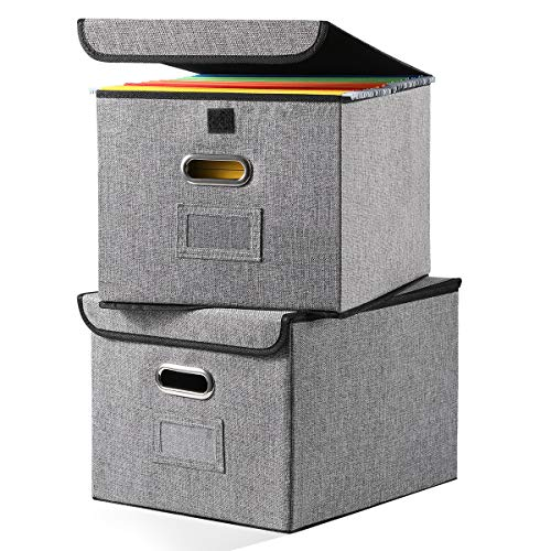 File Organizer Boxes 2-Pack Collapsible Decorative Linen Storage Hanging Filing Folders with Lids Office Letter Legal Size Gray