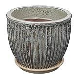 STONE art & more Macetero Linea de 14 cm de diámetro, color arena vidriada con plato resistente a las heladas