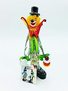 Payaso - Figura de cristal de Murano de estilo clásico con botella de vino y cuello rojo/verde - Producto original de Murano Glass, fabricado en Italia - 22 cm