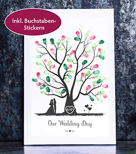 Baum Bild für Fingerabdrücke auf Leinwand personalisierbar Wedding Tree Gästebaum für die Hochzeit als Gästebuch (30 x 45 cm, Baum 1)