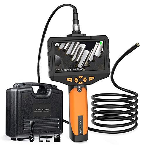 Teslong Zwei Linsen Hand Industrie EndoskopKamera 4,5-Zoll-Farb-IPS- Monitor, 1080P Endoskop 8mm Durchmesser, wasserdichte Rohrkamera Inspektionskamera, 32G-TF-Karte, Werkzeugkasten (5 M/16,4 ft)