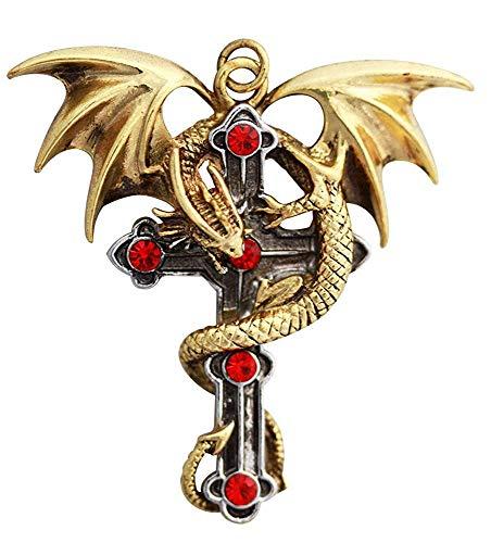 Crux Dragana (Drachen Kreuz) - für Starker Schutz - Anne Stokes Carpe Noctum Amulette - Anhänger Halskette Geschenk Box