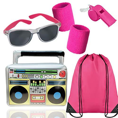 TK Gruppe Timo Klingler XXL 6 in 1 - Set 80er Jahre Kostüm Outfit Bad Taste Assi Accessoire neon Set - mit Ghettoblaster, Schweißband pink Fasching Karneval Kostüm