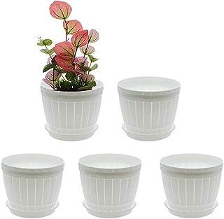 """Saim 6.6"""" Height Barrel Design Plastic Succulent Planter/Flower Nursery Pots/Cactus Plant Pot Holder with Removable Pallet..."""