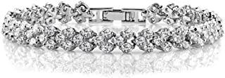Swarovski Elements lady 18K white gold Plated elegant glisten diamonds crystal bangle Bracelet Jin54