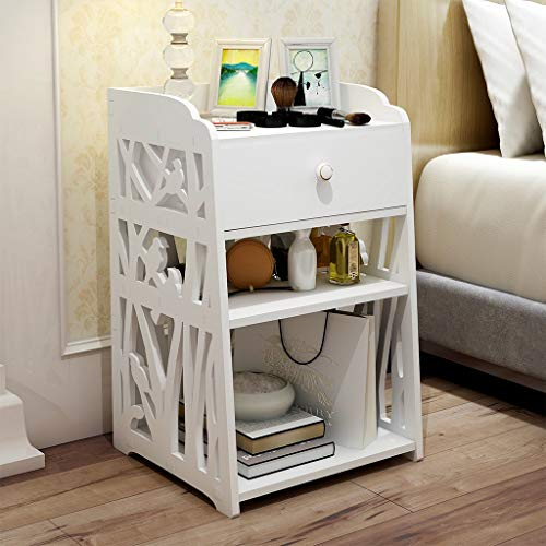 Nightstand with Drawer and Storage Shelves, Modern Fashion Hollow Carved Bedside Table Bedside Storage Cabinet