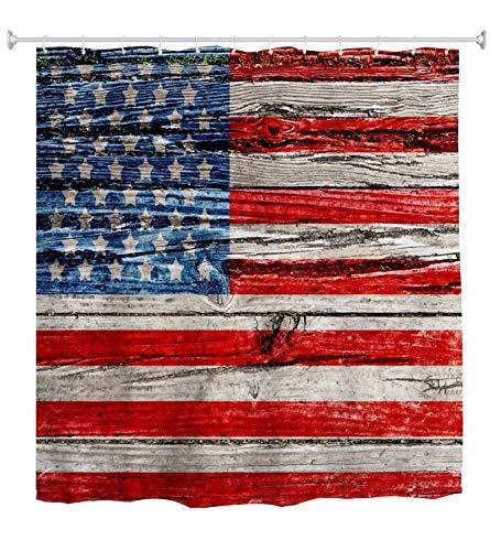 A.Monamour Duschvorhang Amerikanische Nationalflagge Uns Flagge Druck Auf Alten Holzbohlen Gemalt Holz Textur Wasserdicht Polyester Duschvorhang Set Mit Haken Für Bad 150X180 cm / 60