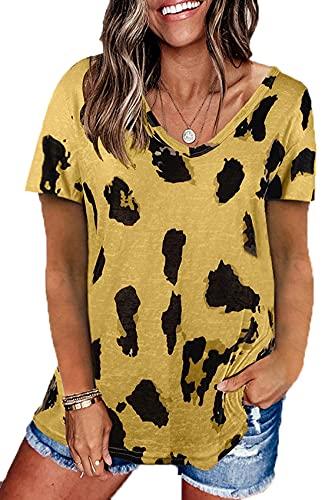Camiseta Holgada De Manga Corta con Cuello Redondo Y Estampado De Leopardo De 2021 Top para Mujer