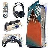 PlayVital Pegatina Completa para PS5 Edición Normal Calcomanía Vinilo para Playstation 5 Consola&Control&Estación de Recarga&Control Remoto&Audífonos Adhesivo Piel para DualSense 5-La Gran Ola