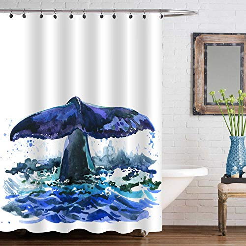 MitoVilla Whale Tail in The Sea Shower Curtain, Watercolor Ocean Huge Fish Bathroom Decorations for Animal Lovers, Baby, Kids and Children Gifts, Navy Blue, 72' W x 72' L Bathroom Accessories