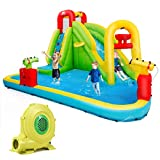 BOUNTECH Inflatable Bounce House, 7-in-1 Water Pool Slide w/ Climbing Wall, Water Cannons, Basketball Rim, Splash Pool, Including Oxford Carry Bag, Repairing Kit, Stakes, Hose (with 480W Air Blower)