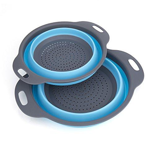 Scolapasta Set, Diealles Scolapasta Pieghevole in Silicone Filtro Cucina In Silicone Pieghevole Filtro Cestino per Cucina Domestica O Campeggio (Blu)