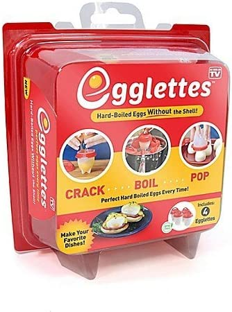 Egglettes 4 Egg Cups Egg Cooker Hard Soft Maker No Shell Non Stick Silicone Poacher Boiled Steamer product image