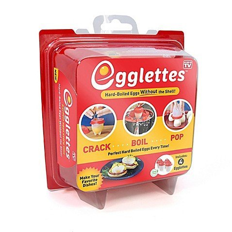 """Egglettes - 4 Egg Cups - Egg Cooker Hard & Soft Maker, No Shell, Non Stick Silicone, Poacher, Boiled, Steamer, Includes Recipe Book, AS SEEN ON TV. (""""4 Egg cups"""")"""