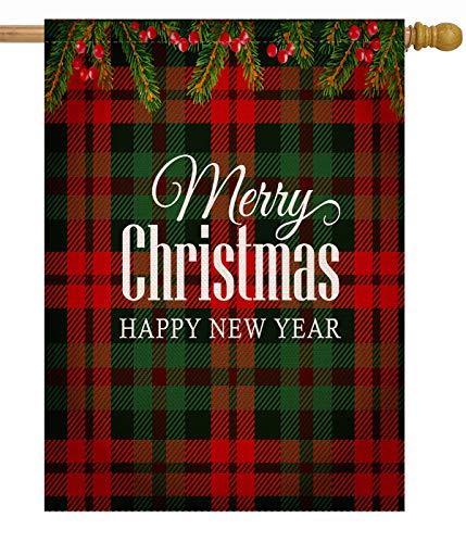 Dyrenson Merry Christmas 28 x 40 House Flag Buffalo Plaid Double Sided, Xmas Quote Burlap Garden Yard Decoration Ornament, Tartan Checkered Winter Seasonal Outdoor Décor Decorative Holiday Large Flag