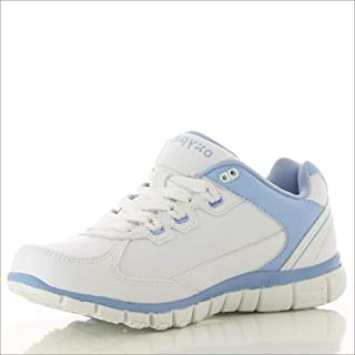Oxypas Oxysport 'Sunny' Slip-resistant, Antistatic Leather Nursing Trainers, White/Blue (Light Blue), 5.5 UK (39 EU)