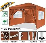 Serface Pavillon Faltpavillon 3x3 Wasserdicht Faltbare Gartenpavillon Festival Sonnenschutz Faltpavillon, UV-Schutz mit 4 Seitenteilen für Garten/Party/Hochzeit/Picknick