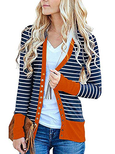 Womens Long Sleeve Snap Button Down Stripe Contrast Color Knit Ribbed Neckline Cardigans Orange XL