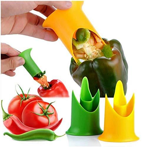 Entkerner Für Paprika Frucht- und Gemüseentkerner 2-in-1 Pfefferkernschneider Chilisamen-Entferner Küchenzubehör für Paprika, Tomaten, Obst
