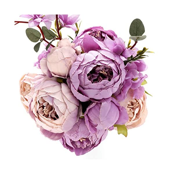Uworld Artificial Flowers Real Looking Fake Peony for Party,DIY Wedding Bouquets Home Centerpieces