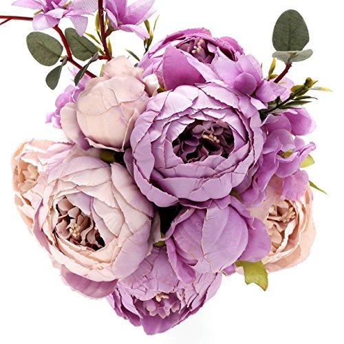 Uworld Artificial Flowers Silk Plastic Fake Peony Flower Vintage Peonies Bouquet DIY Wreath for Home Wedding Centerpieces Décor (Orange White)
