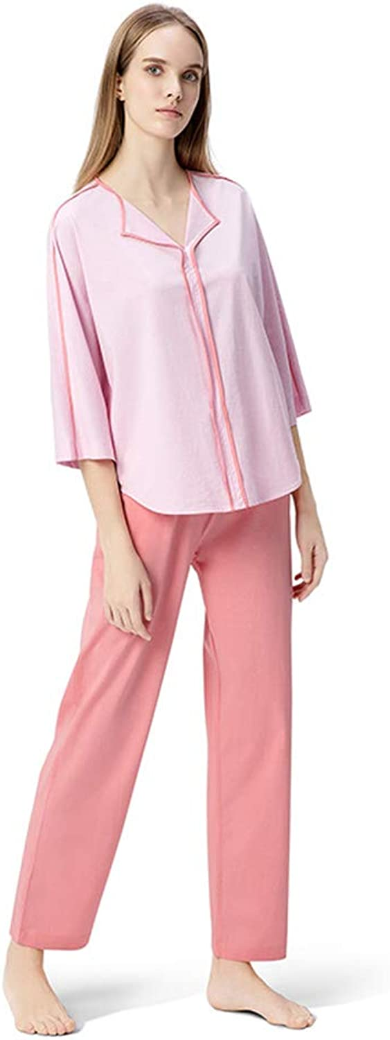 Lingerie, Sleep & Lounge Pajamas Women Nightgowns Long Sleeve Sets Nightgowns Cotton Pajamas Cotton Thin Autumn Clothes Set (color   Pink, Size   XL)