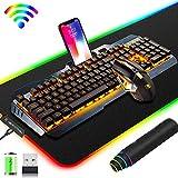 Ensemble clavier et souris de jeu sans fil 2,4 G rechargeable,3500 mAh Grande capacité, rétroéclairage LED orange + 2400 DPI 7 couleurs de lumière respiratoire + grand tapis de souris RGB Gaming