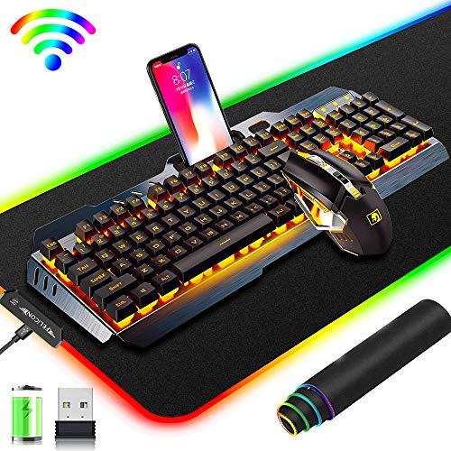 Kabellose 2,4 G wiederaufladbare Gaming-Tastatur und Maus Set, 3800 mAh große Kapazität, orangefarbene LED Hintergrundbeleuchtung + 2400 DPI 7 Farben Atemlicht Maus + großes RGB-Gaming-Mauspad