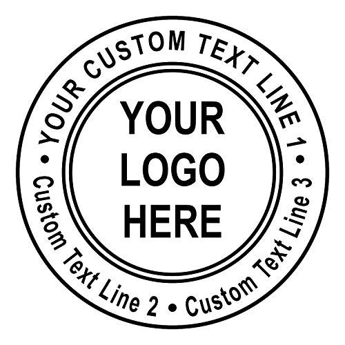 Custom Logo Double Round Border Stamp - 3 Lines of Text - Self-Inking Stamper - Rubber Personalized Stamp - Stamps for Local Business - Personalized Business Stamps (Black Ink)