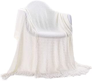 Battilo 100% Acrylic Blanket with Tassels Throws for Sofa Chair Settee 130x150cm (White)