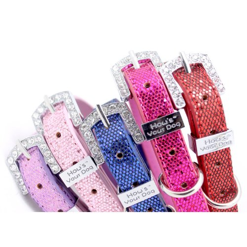 HYD - Collars & Leads How's Your Dog Fab Glitter Name Me Personalized Collar for Dogs and Cats - Free Swarovski Crystal Letters Included - Shocking Pink