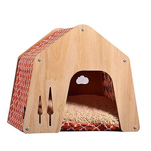 Casa de madera para mascotas con nido de conejo, casa de gato, cama para mascotas, cama de gato cerrada, extraíble y lavable, almohadilla de algodón perla