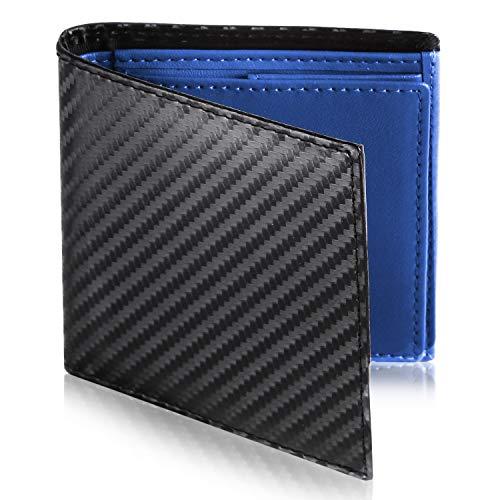 [Le sourire] ミニマリスト 二つ折り 財布 ビジネスマンの本革財布 極小×機能性 メンズ (ブラック×ブルー)