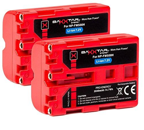 2X Baxxtar PRO - Ersatz für Akku Sony NP-FM500H (echte 2040mAh UL-Zertifikat) mit Infochip - kompatibel mit Sony Alpha A57 A58 A65 A65V A68 A77 A77V A99 A99 II UVM