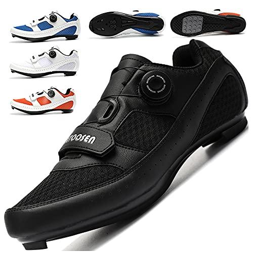 KUXUAN Zapatillas de Ciclismo Hombre Mujer Zapatillas de Bicicleta de Carretera Zapatillas de Ciclismo con Cordones Giratorios Compatibles con SPD y Delta Lock,Black-41EU