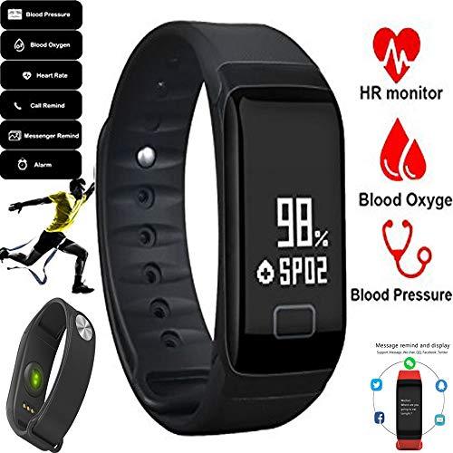 Voor Qilive Q5 LTE (5,5 inch) - sporthorloge - Smart Band F1 met hartslagmonitor, zwart