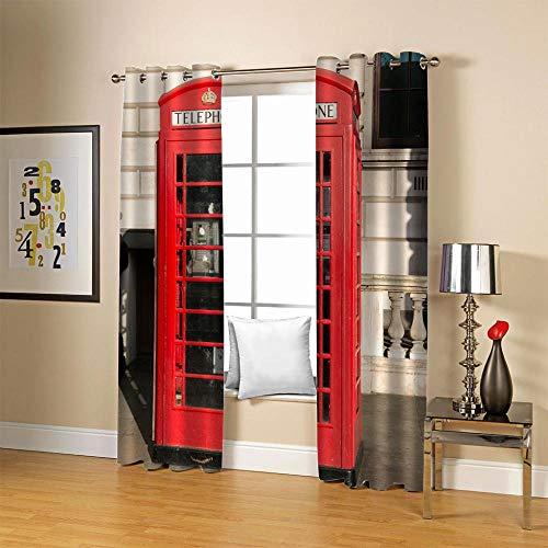 GVJKCZ Cortinas Opacas Cabina de teléfono Creativa Rojo-Negro-Gris Cortinas Opacas de Salón Moderno -Decorativa para Dormitorio Infantil, Cortina de Aislamiento térmico,140 cm x215 cm x2
