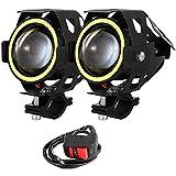 2 PCS Fari Moto Faretto Anteriore CREE U7 LED 4000 LM con Interruttore On Off Fanale Lampada Universale Impermeabile 3 Modalità per Moto Scooter Auto Bici Camion Barca (Bianco)