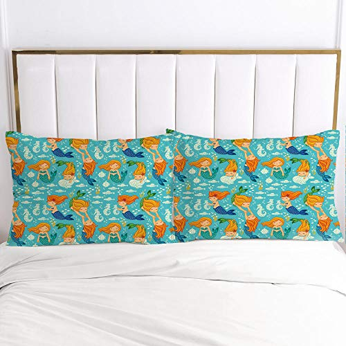 lhmlyl mattress protector Creative digital printing factory pillowcase cartoon-Cartoon 114-White-P_80x80cm 2pcs