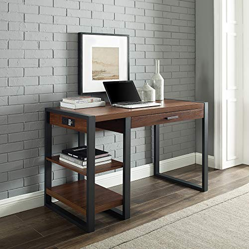 Walker Edison Modern Industrial Computer Gaming Desk Storage Shelves and Drawer with Electrical Outlet Home Office, 48 Inch, Dark Walnut