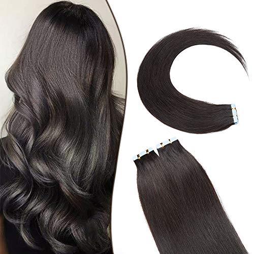 SEGO Extension Biadesivo Capelli Veri Adesive 20 Ciocche Biadesive Evolution Tape Extensions con Naturalezza 60g Remy Human Hair (60cm, 1B Nero Naturale)