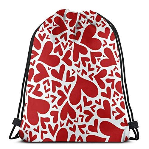 Bolsas con cordón para gimnasio Mochila Love Heart Sackpack Tote para almacenamiento de viaje Organizador de zapatos Baloncesto Botella de agua Adultos Talla única