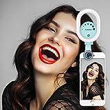 Ever Shop Belleza Selfie Luz con ángulo de 0,6x Ancho Lens con 15x Kit de Objetivo Macro, Clip-on Recargables LED Ring Flash Light para iPhone, Samsung, Huawei y Todos los Smartphones