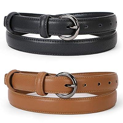 WERFORU Women Leather Belt Waist Skinny Dress Belts Solid Pin Buckle Belt for Jeans Pants,Black+Brown,Pants Size 37-43 inches