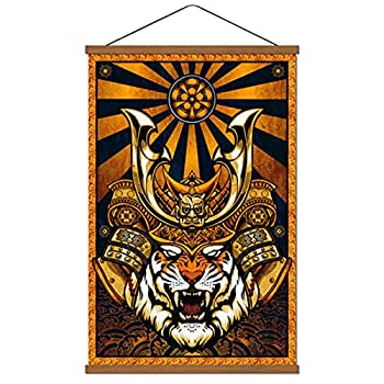 """Japanese Wall Art Warrior Tiger Armor Samurai Print on Canvas Poster Artwork Dark Vintage Wood Painting for Home Bedroom Karate Hall Sushi Restaurant Decorations Framed Ready to Hang 16""""x24""""  yellow"""